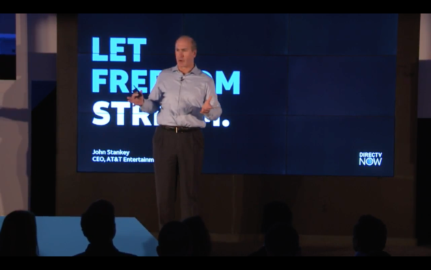 AT&T CEO John Stankey unveils the new DirecTV Now streaming service. (Photo Via Webcast)