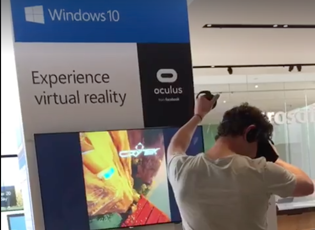 Reality bites: Watch as man using VR in Microsoft store falls from fake cliff and hits real floor