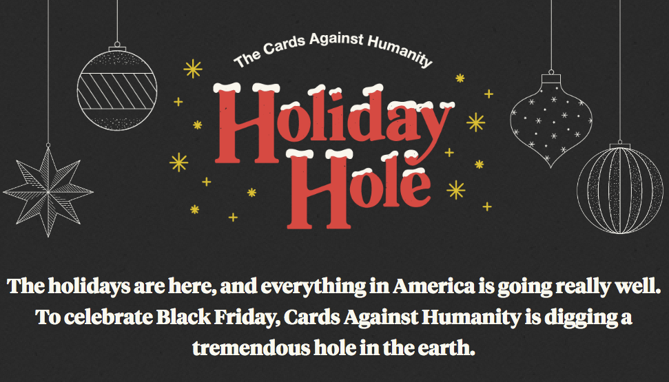 Cards Against Humanity Has Raised More Than 100 000 To Dig A Massive Pointless Hole Geekwire