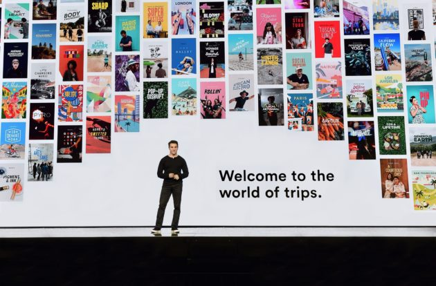 Brian Chesky announces 'Trips' at Airbnb Open event. (Airbnb Photo).