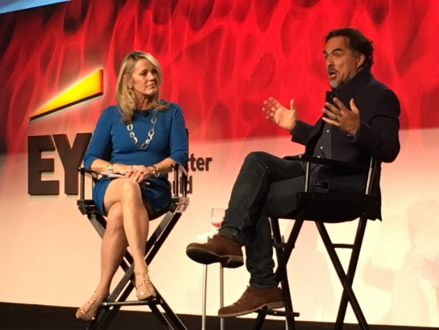 Alejandro González Iñárritu, right, speaks with Inside Edition anchor Deborah Norville at the EY Strategic Growth Forum