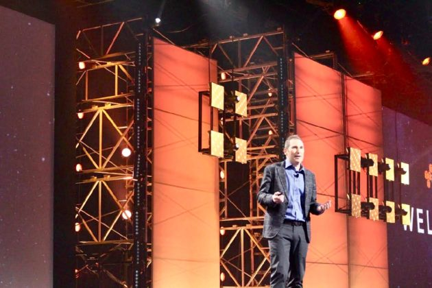 Amazon Web Services CEO Andy Jassy at the re:Invent conference in Las Vegas today. (GeekWire Photo / Dan Richman)