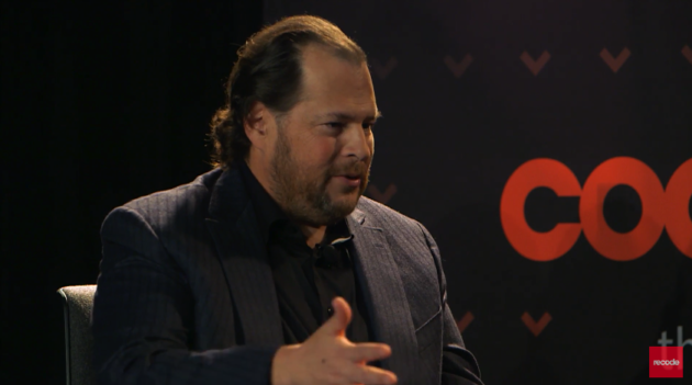 Salesforce CEO Marc Benioff ponders a point during an interview Nov. 14, 2016, by Recode co-founder Kara Swisher at Code Enterprise in San Francisco, via webcast.