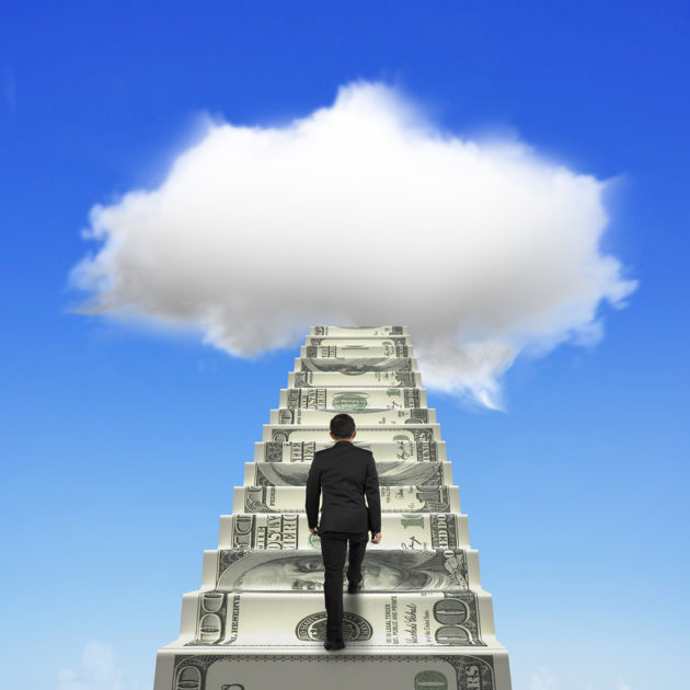 Businessman climbing the money stairs toward white cloud in blue sky background.