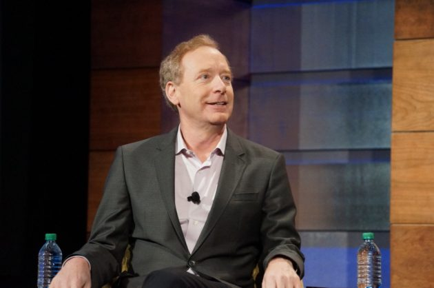 Microsoft President Brad Smith at the company's annual meeting this morning. (GeekWire Photo / Todd Bishop)