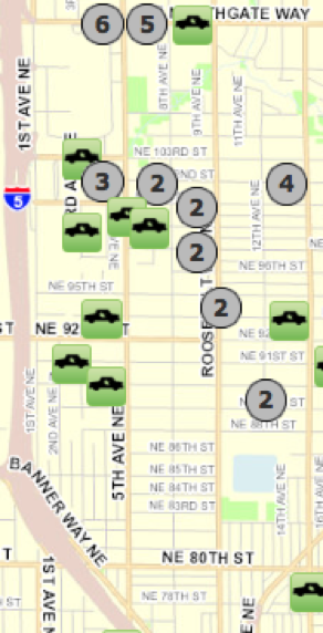 Seattle Police Department offers an online map to its webpage users, with which they can check the reports for different crimes. On the left, a screenshot of the map with the location of the 38 car prowls reported in October in the Northgate-Maple Leaf area.