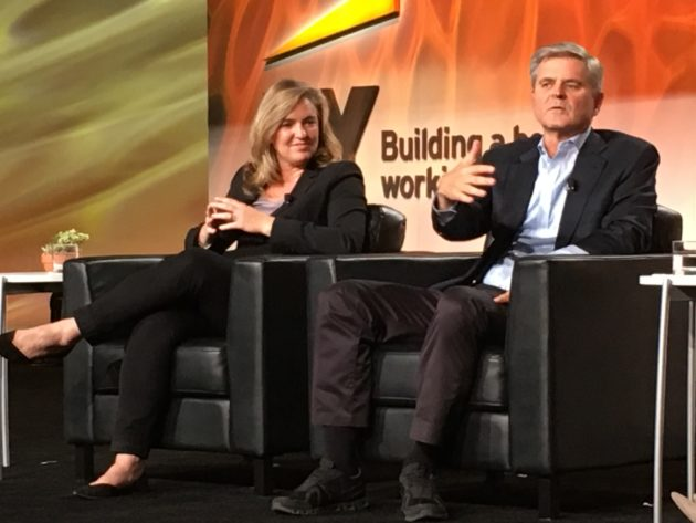 Kristin Groos Richmond, Founder and CEO of Revolution Foods and Steve Case, Chairman and CEO of Revolution and Chairman of Case Foundation. (John Cook / GeekWire Photo)