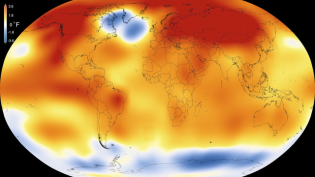 2015 was the warmest global year on record since 1880. Colors indicate temperature anomalies (Photo via Wikipedia).