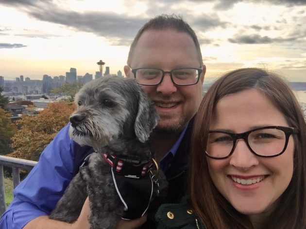Daniel Rossi with his wife, Mandy, and their pupRufus.