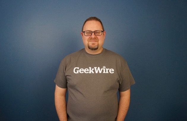 "Daniel Rossi in an XL shirt, his official ""before"" picture. (GeekWire Photo / Todd Bishop)"