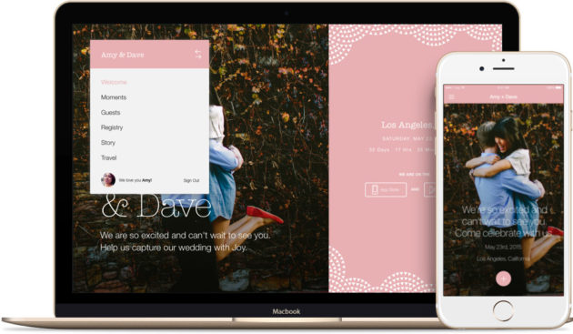 A website and app created with the Joy wedding planning platform.