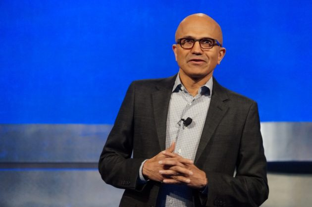 Microsoft CEO Satya Nadella speaks at the meeting this morning. (GeekWire Photo / Todd Bishop)