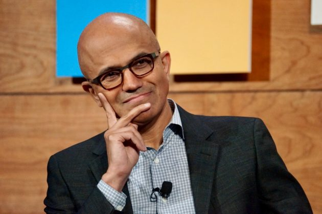 Microsoft CEO Satya Nadella listens to a shareholder question. (GeekWire Photo / Todd Bishop)