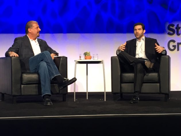 EY CEO Mark Weinberger interviews LinkedIn CEO Jeff Weiner, right, at the EY Strategic Growth Forum (GeekWire Photos / John Cook)