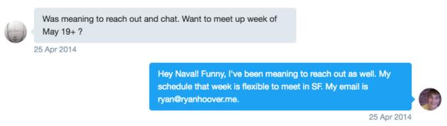 A conversation between Product Hunt CEO Ryan Hoover and AngelList CEO Naval Ravikant. (Screenshot Via Medium)