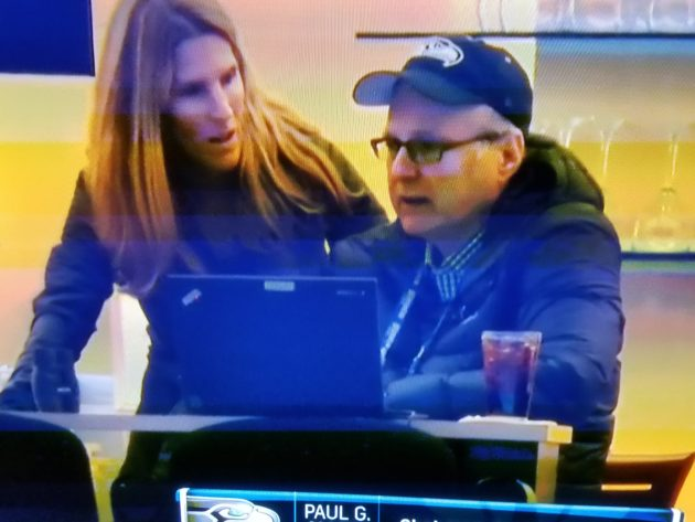 Paul Allen using a Lenovo ThinkPad during the Seahawks game on Dec. 4. Photo via NBC stream.