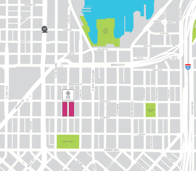 The location of the future Facebook office building in Seattle's South Lake Union neighborhood. (Vulcan Graphic)