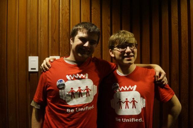 Teammates Sam Hansen (left), a junior at Ingram High School, and Einar Pedersen (right), a freshman at Kings High school. (GeekWire Photo / Clare McGrane)