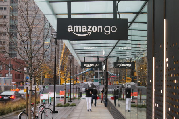 "Outside Amazon's first ""Amazon Go"" retail store in Seattle. (GeekWire Photo / Nat Levy)"