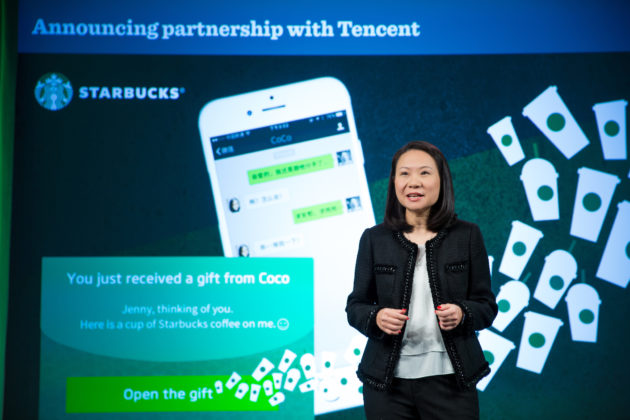 Starbucks China CEO Belinda Wong announces the company's new partnership with Tencent today. Photo via Starbucks.