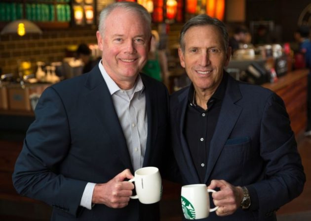 Kevin Johnson and Howard Schultz. (Starbucks Photo)