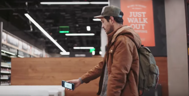 At the new Amazon Go store in Seattle, coming early 2017, shoppers use their smartphone to buzz in and out of the store. (Amazon Photo Via YouTube)