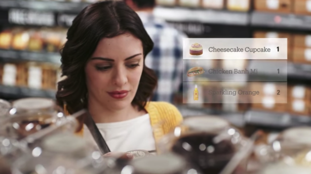 Amazon's system automatically detects when a shopper picks up an item, and adds it to a virtual cart. (Amazon Image via YouTube)