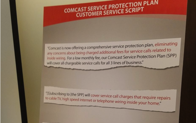 excerpts from a comcast customer service script presented as evidence by washington state ag bob ferguson of allegedly unfulfilled promises to customers