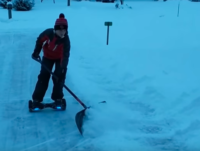 Shoveling on hoverboard