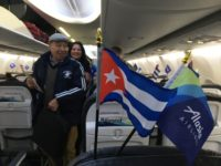 Cuban flag in Alaska Airlines jet