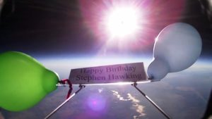 High-altitude balloon tribute to Stephen Hawking