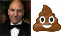 Patrick Stewart and poo emoji