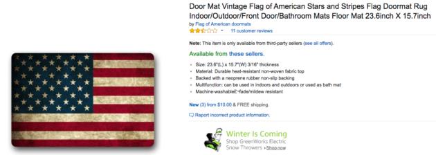 American flag floor mat