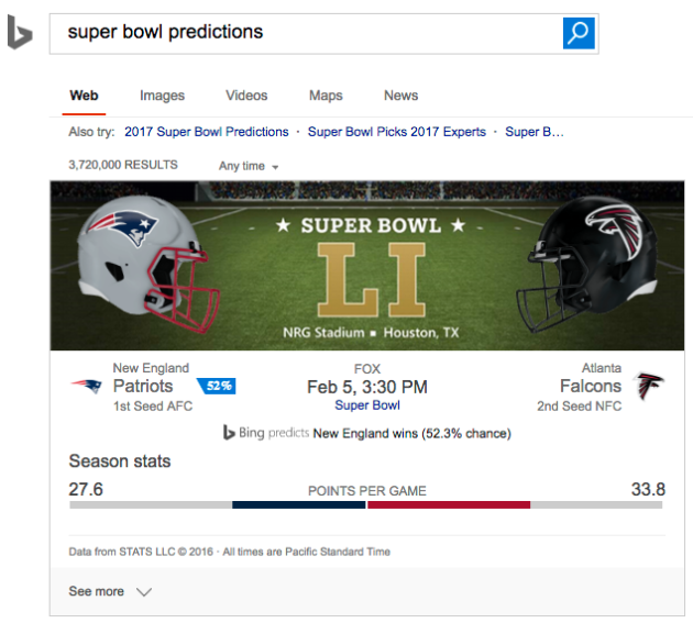 Bing Super Bowl prediction
