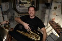 Thomas Pesquet with sax