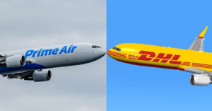 Amazon Prime Air and DHL jets