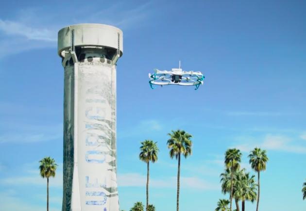 Amazon drone with Bloe Origin spaceship at MARS 2017