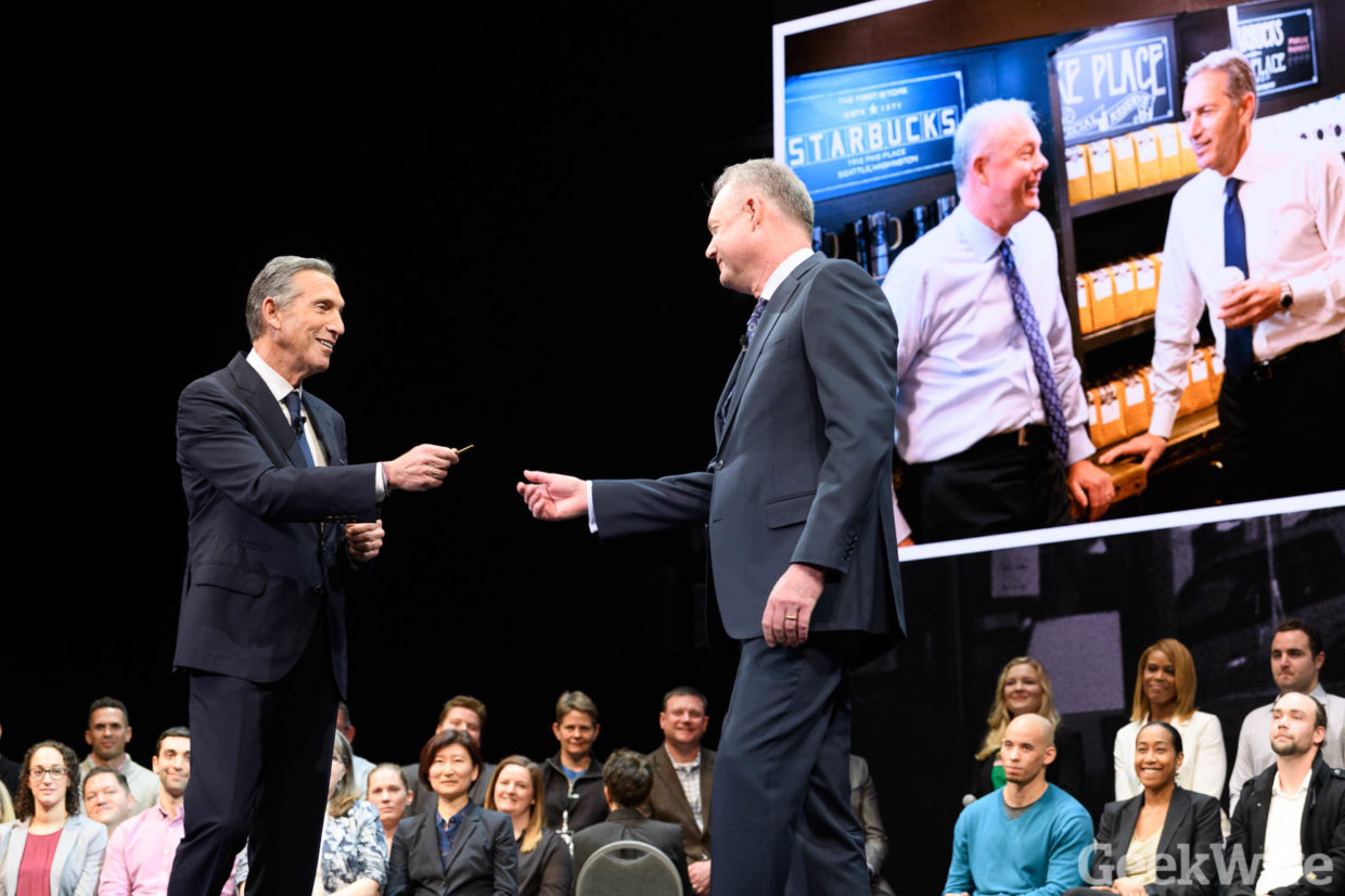 Howard Schultz hands the 'keys to Starbucks' to incoming CEO and tech veteran Kevin Johnson