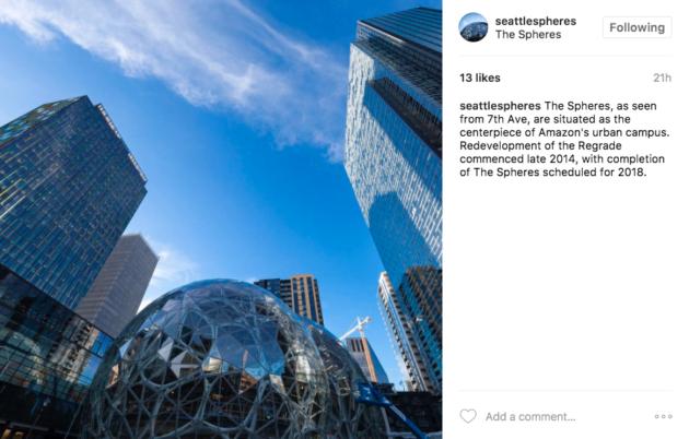 Amazon Spheres Instagram