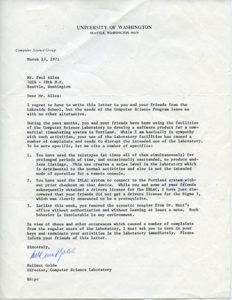 Paul Allen letter