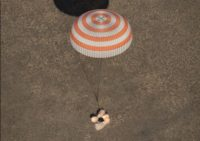 Soyuz touchdown with NASA astronaut