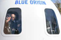 Jeff Bezos in Blue Origin New Shepard crew capsule