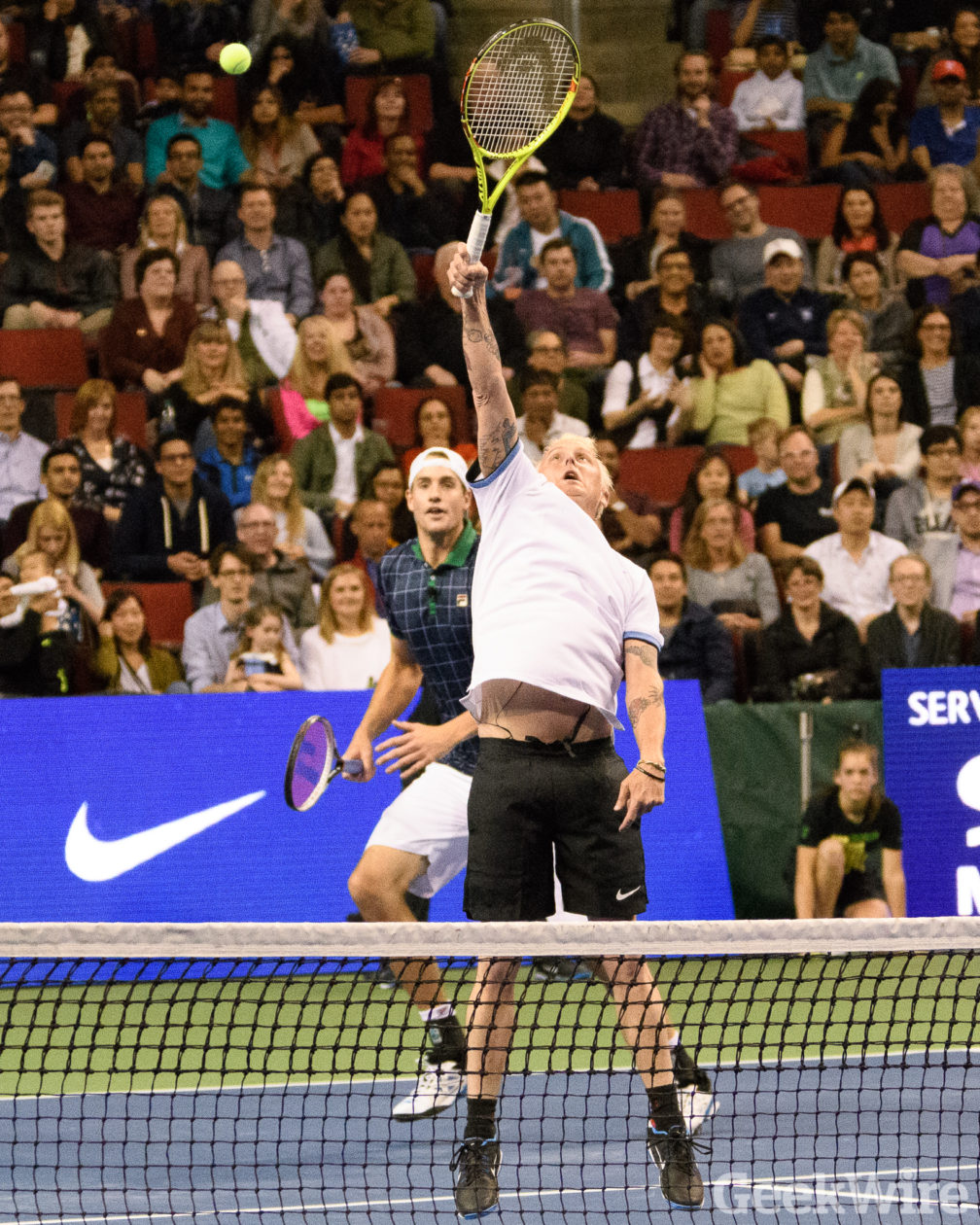 4dcf3240a Gates and Federer, who share a passion for not only tennis but also  philanthropy, teamed up for the celebrity doubles match against Isner and  McCready, ...