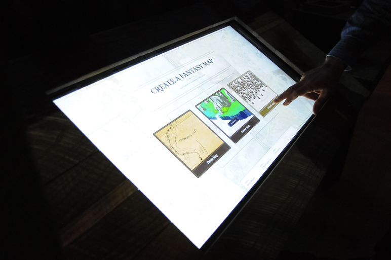 In another interactive feature of the exhibit, viewers can create a map to their own fantasy world.