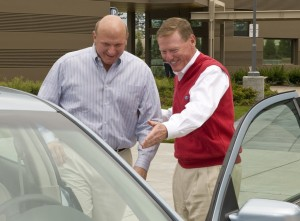 Former Microsoft CEO Steve Ballmer with Ford boss Alan Mulally