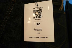 Hointer customers can scan QR codes with the Hointer app and have requested jeans sent to a designated dressing room.
