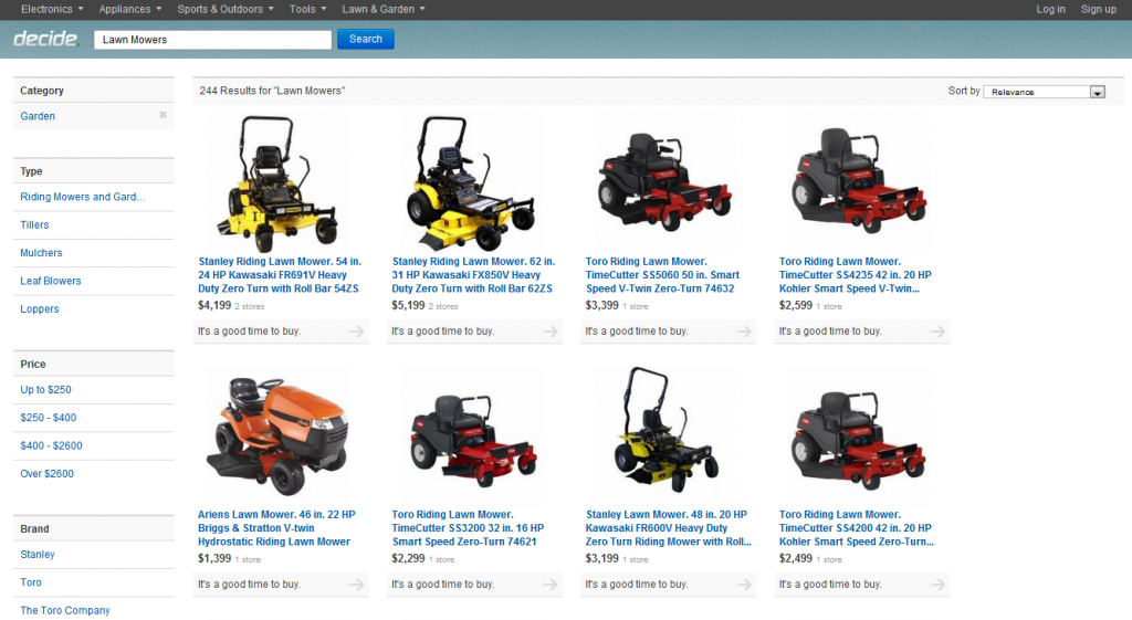 Lawn mowers are one of the new product categories from Decide.com.