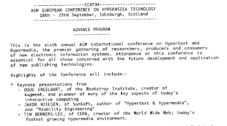 CompuServe email delivered the '94 agenda