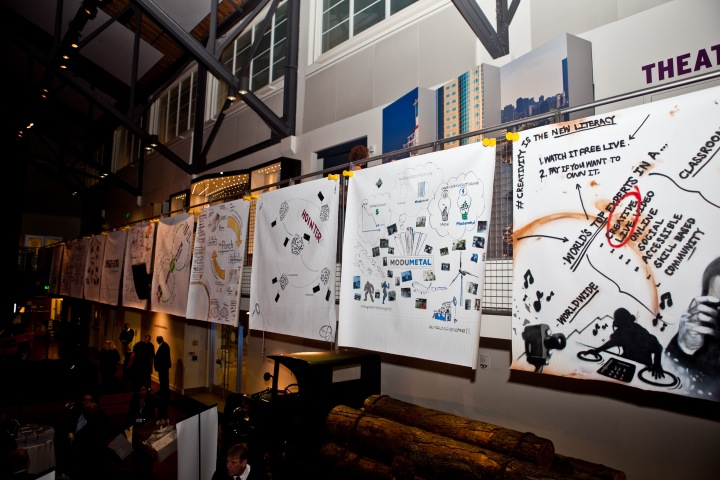 """The """"Seattle 10"""" posters made their debut at MOHAI during the GeekWire Gala on Wednesday. Photo by Jessica Keener."""