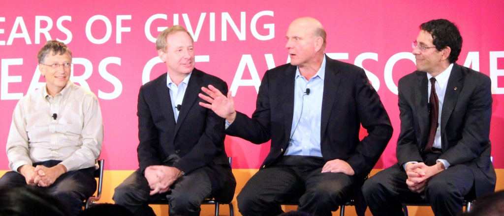 From left: Bill Gates, Brad Smith, Steve Ballmer and United Way King County CEO Jon Fine speak at Microsoft's 30th Employee Giving Campaign event.
